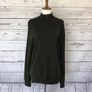 J. Crew Green 1/2 Zip LS Merino Wool Sweater Small